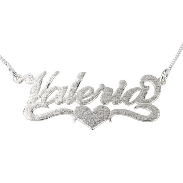 Brushed Carrie Name Necklace with Center Heart - jeweleen - 1