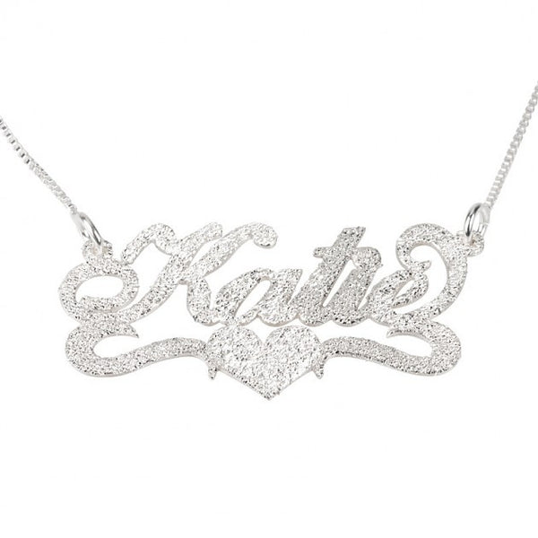 Sparkling Carrie Name Necklace with Center Heart - jeweleen - 1