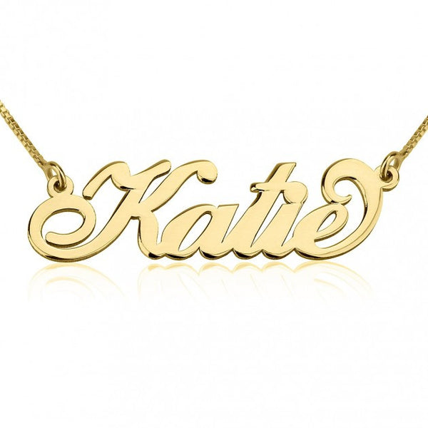 24K Gold Plated Carrie Name Necklace - jeweleen - 1