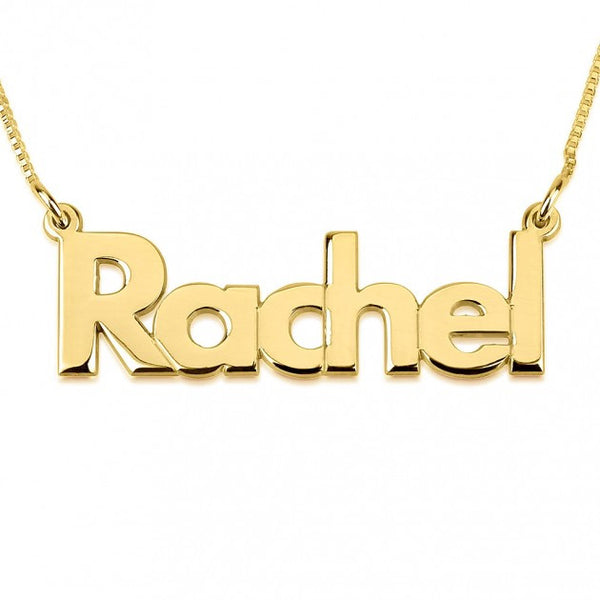 24K Gold Plated Bold Print Name Necklace - jeweleen - 1