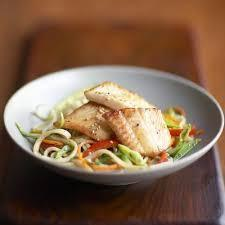 Dover sole and sesame noodles