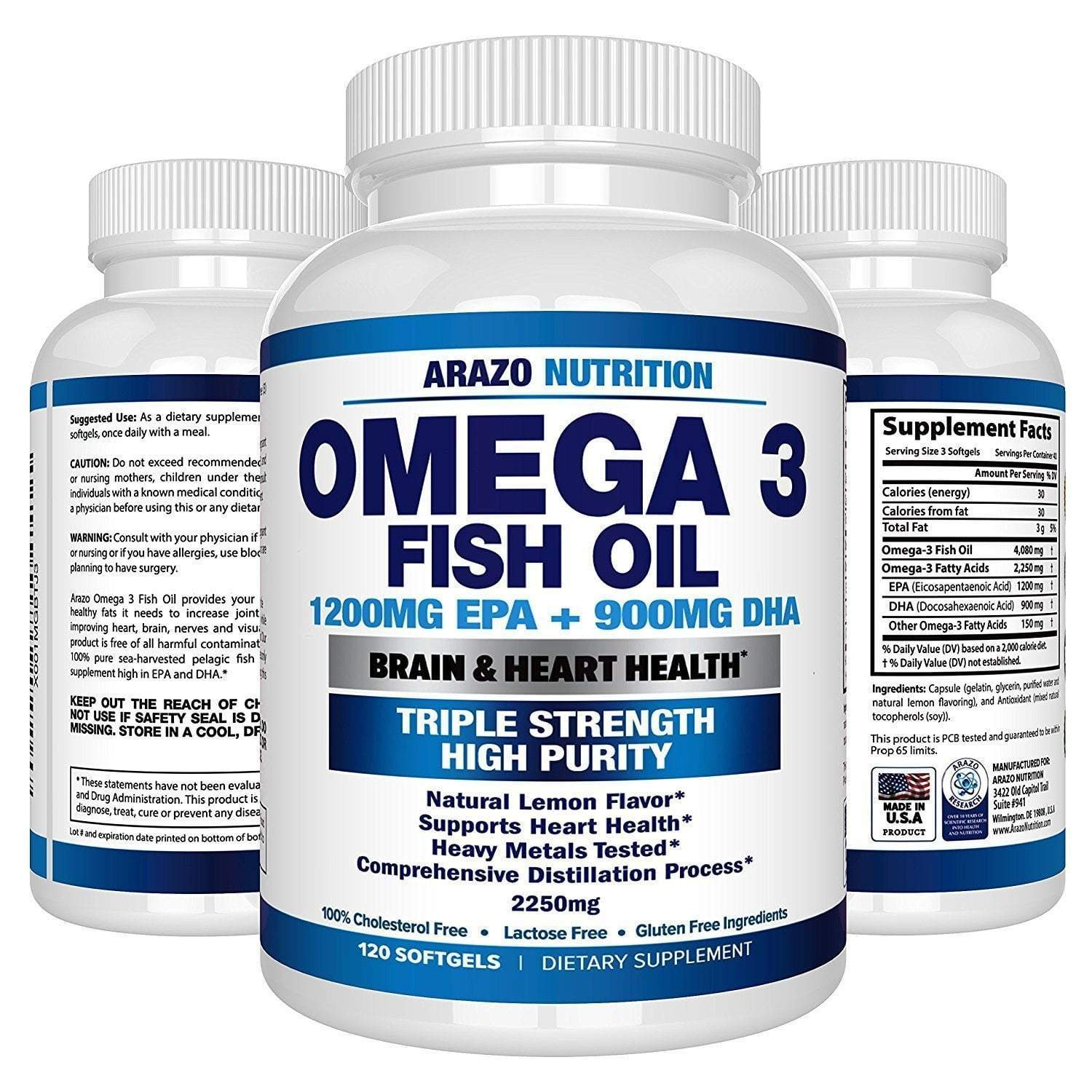 Global Seafoods North America Fish Oil Omega 3 Fish Oil 2250mg | HIGH EPA 1200MG + DHA
