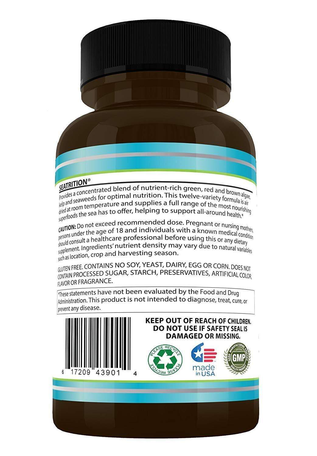 Global Seafoods North America Seaweed 1 Pure Seaweed Plants 180 Veg Capsules