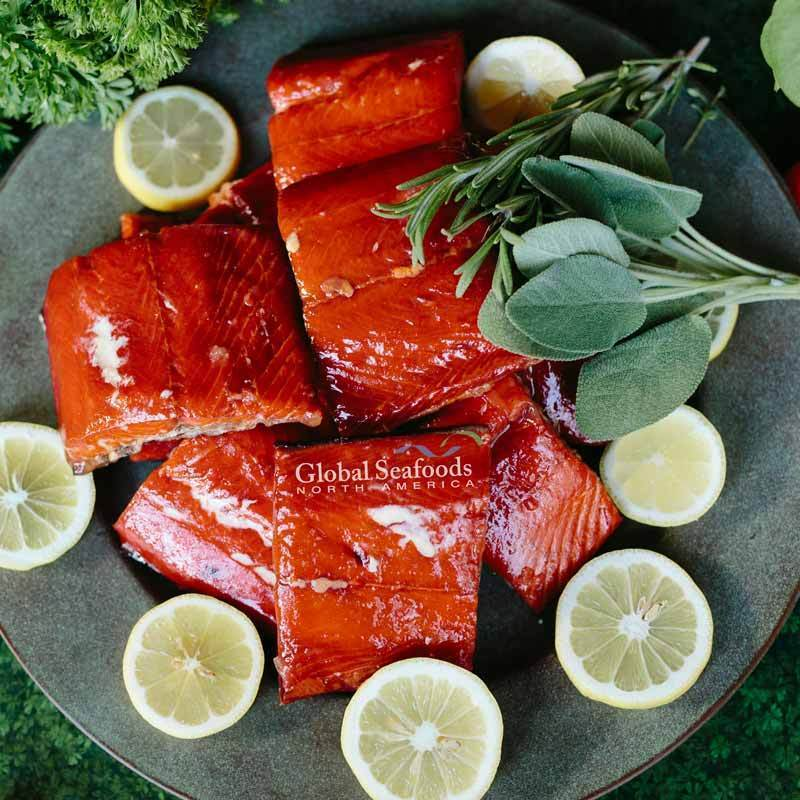 Global Seafoods North America Smoked Salmon Hot Smoked Sockeye Salmon, 2 vacuum packs 2.5 lbs Hot Smoked Sockeye Salmon