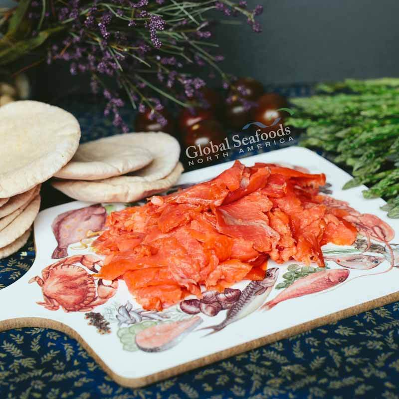 Global Seafoods North America Smoked Salmon Sockeye Salmon Lox Trim