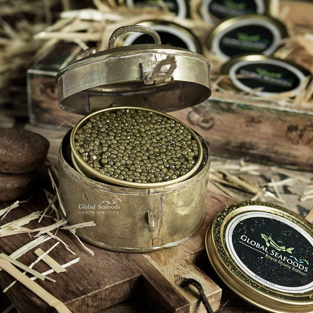 globalseafoods Black Caviar Ossetra Sturgeon Caviar Royal Crown Fresh 2oz tin $160 Ossetra Sturgeon Caviar Royal Crown Fresh