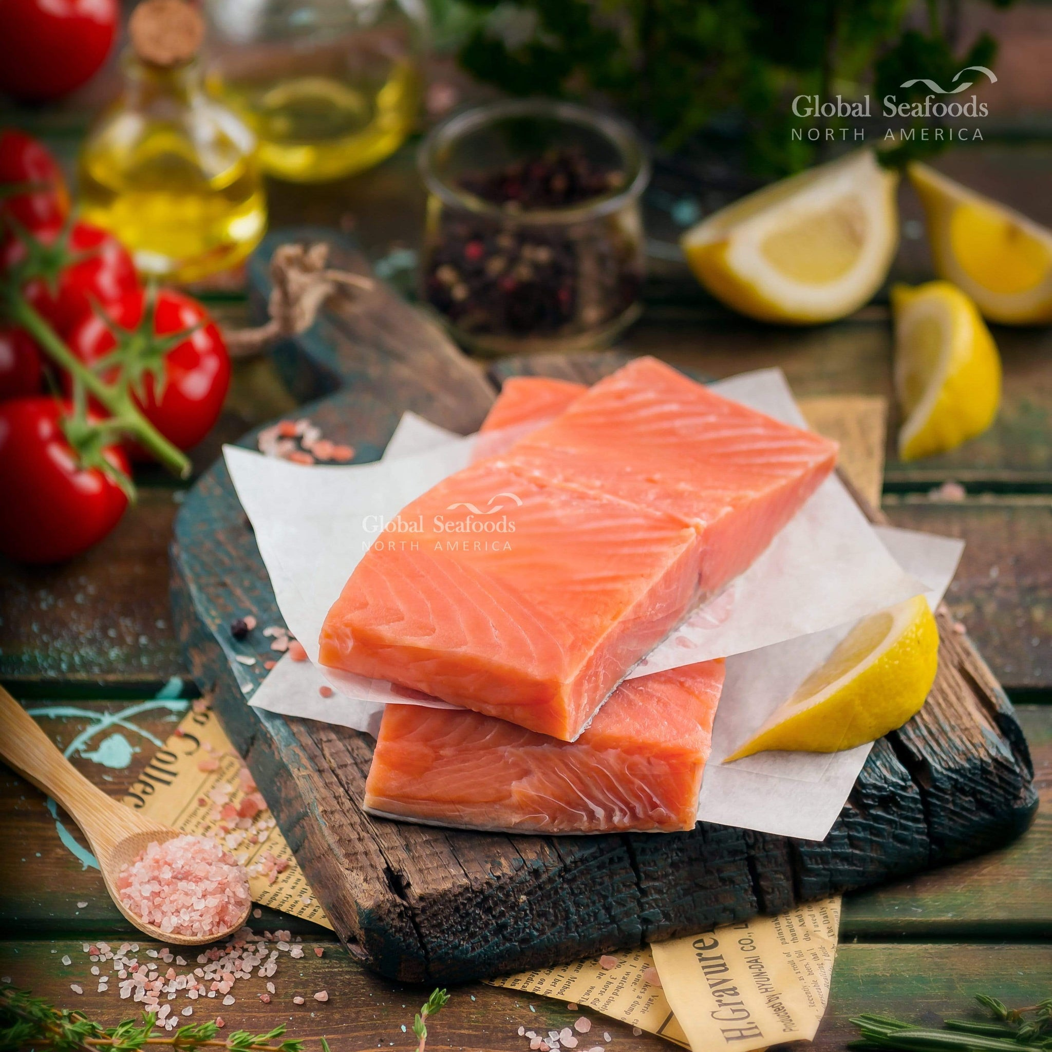 globalseafoods Fish Coho (Silver) Salmon 8 oz Portions