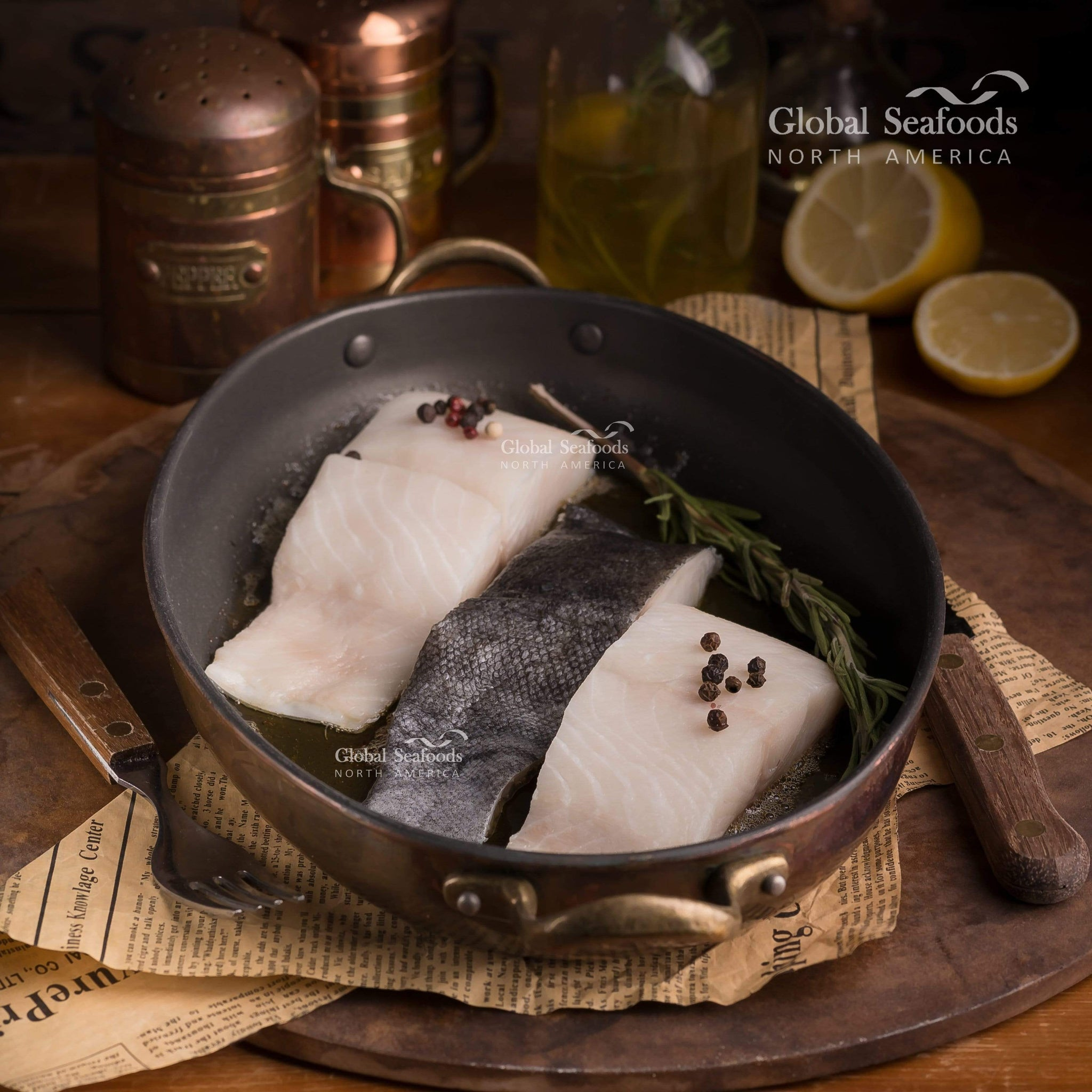 globalseafoods Fish Sablefish 6 Fillets Portions, 8 oz each Black Cod (Sablefish) Fillet Portions