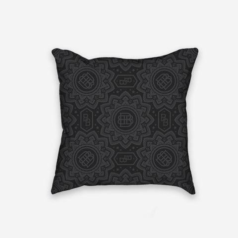 Bound By Blood Lotus Pattern Print Pillow Black and Grey