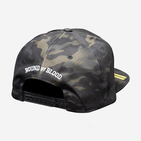 Bound By Blood Monogram Multicam® Black and White Unisex Flatbirm Snapback Hat