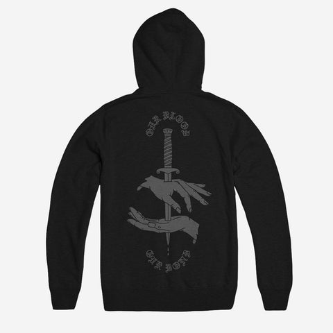 Bound By Blood Our Blood Our Bond Black Unisex Zip Hoodie