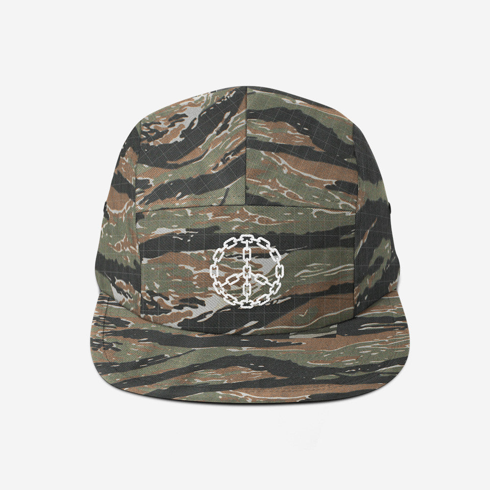 Bound By Blood Peace Chain Tiger Camo 5-Panel Camper Hat