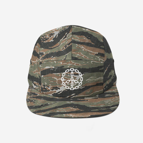 Peace Chain 5-Panel Camper Hat (Tiger Camo)