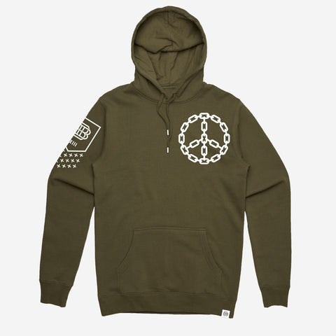 Bound By Blood Peace Chain Olive Green Unisex Pullover Hoodie