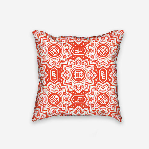 Bound By Blood Lotus Pattern Print Pillow Red and White
