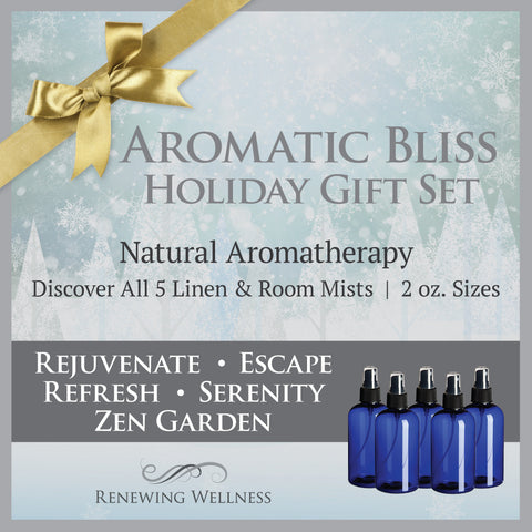 Renewing Wellness Aromatherapy Linen Room Mist Sprays Holiday Gift Set