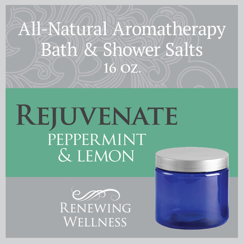 Natural Aromatherapy Bath Shower Salts Peppermint Lemon Rejuvenate
