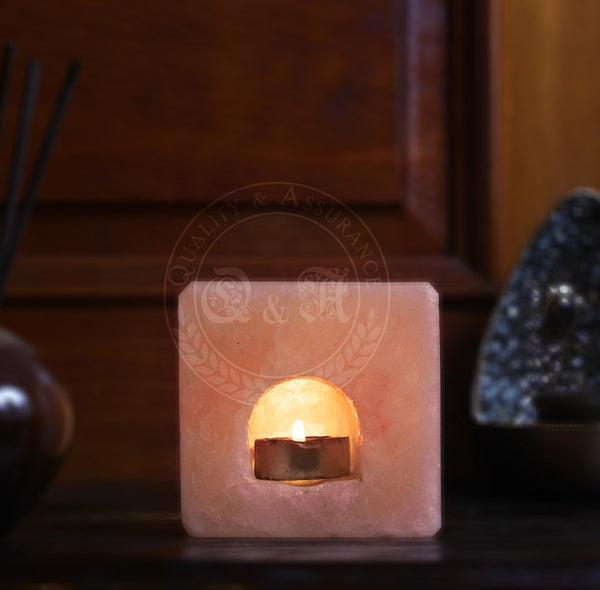 Himalayan Salt Cube Tealight Candle Holder - Q & A Himalayan Salt - 1