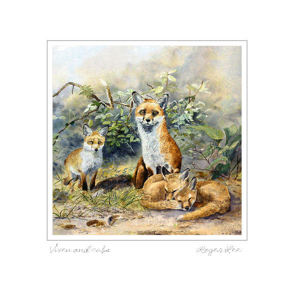 Vixen and cubs - Rogerleeart