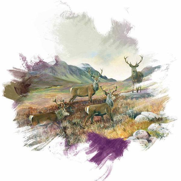 Stags at Ben Alder brushstroke range - Rogerleeart