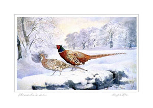 Pheasants in the Snow - Rogerleeart