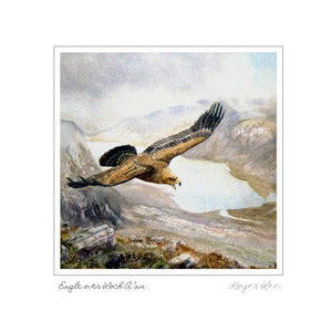 Greetings card of golden eagle flying