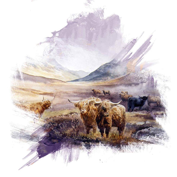 Highland cattle at Ben Alder brushstroke range - Rogerleeart