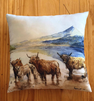 Highland cattle at Dunalastair water Cushion-Linen - Rogerleeart