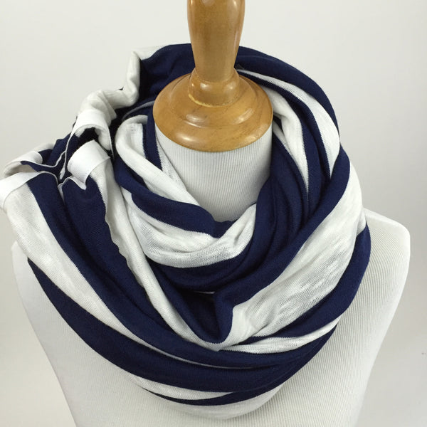 Navy Blue Stripe Snap Infinity Scarf - Sharp Plant Designs