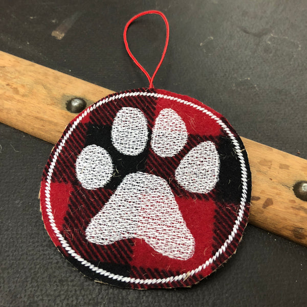 Buffalo Plaid Paw Print Ornament Sharp Plant Designs ornament Woodbridge