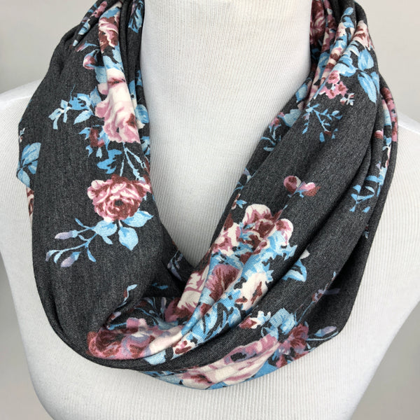 Floral French Terry Infinity Scarf