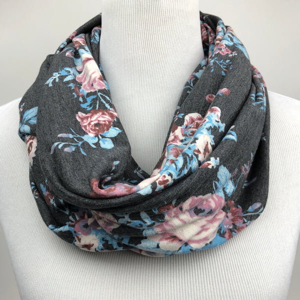 Floral French Terry Infinity Scarf Sharp Plant Designs Scarf Woodbridge