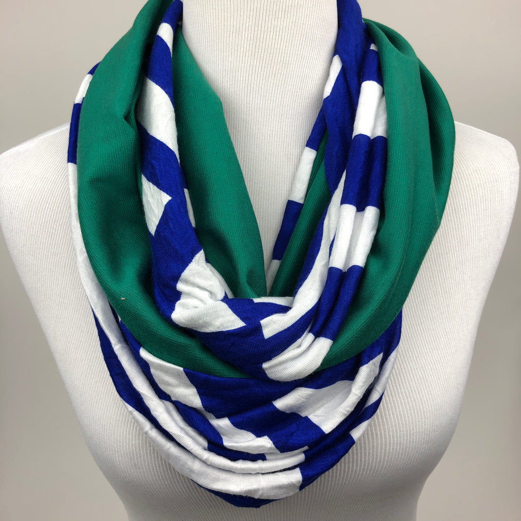 Blue and Green Infinity Scarf