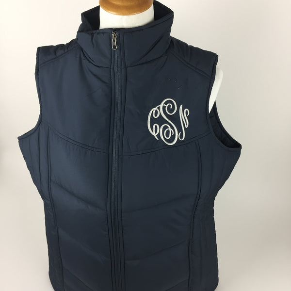 Monogrammed Puffy Vest Sharp Plant Designs Vest Woodbridge