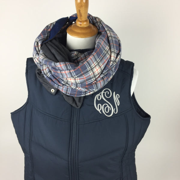 Puffy Monogrammed Vest and Snap Infinity Scarf