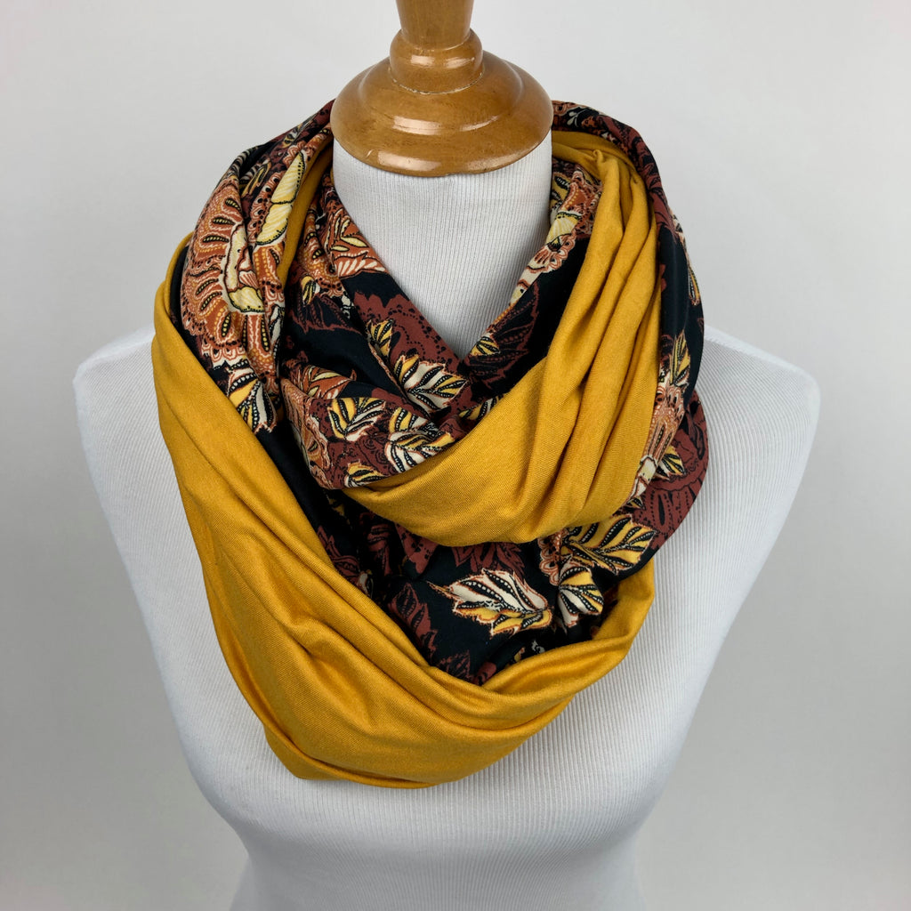 Golden Floral Snap Infinity Scarf