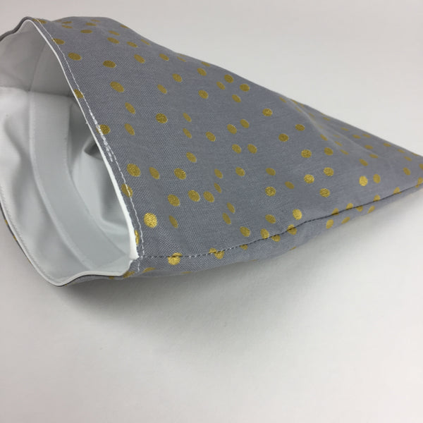 Grey and Gold Polka Dot Snack Bag Sharp Plant Designs Snack bags Woodbridge