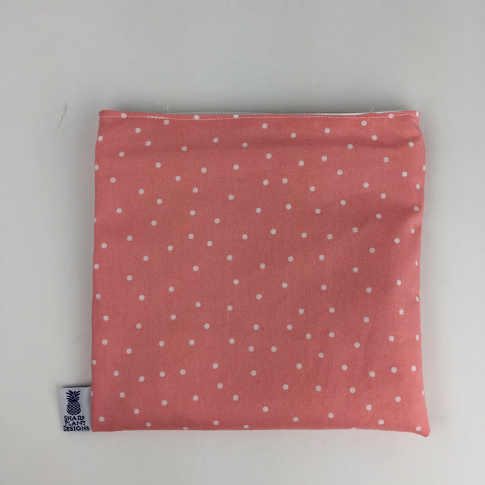 Coral and White Polka Dot Snack Bag Sharp Plant Designs Snack bags Woodbridge