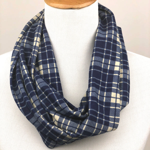 Blue Plaid Infinity Scarf Sharp Plant Designs Scarf Woodbridge