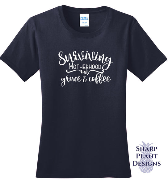 Surviving Motherhood on Grace and Coffee Sharp Plant Designs Graphic Tee Woodbridge
