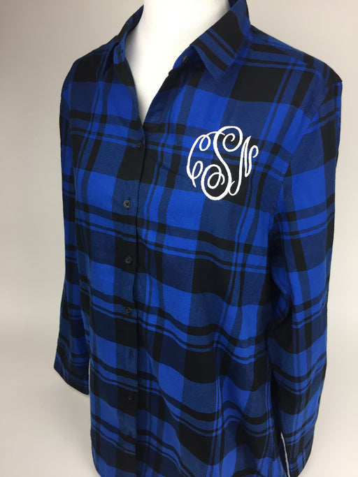 Monogrammed Plaid Tunic Sharp Plant Designs Shirts Woodbridge