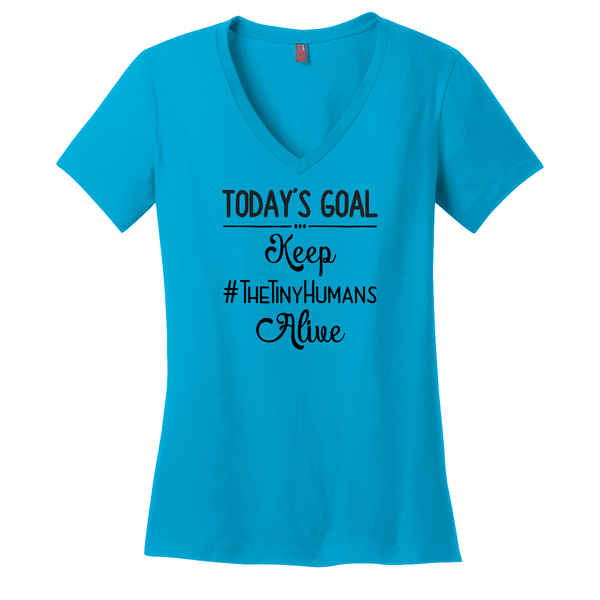 Today's Goal Keep The Tiny Humans Alive-V Neck Tee Sharp Plant Designs Graphic Tee Woodbridge