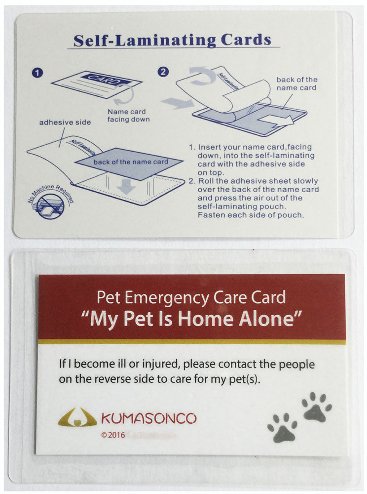 Pet Emergency Care Cards with Laminating Pouches