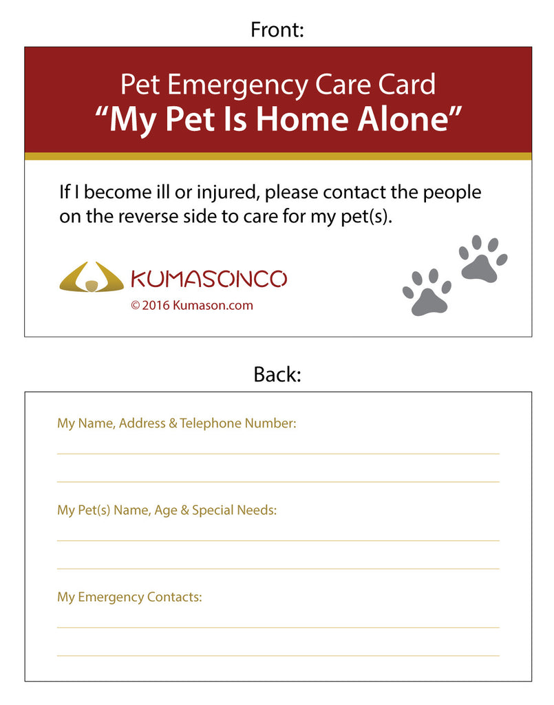 Pet Emergency Care Cards