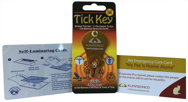 Pet Emergency Card with Laminating Pouch and Tick Remover - Cat