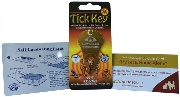 Pet Emergency Card with Laminating Pouch and Tick Remover - Cat and Dog