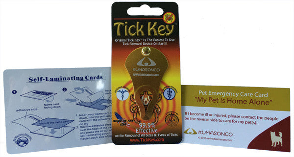 Pet Emergency Card with Laminating Pouch and Tick Remover - Dog