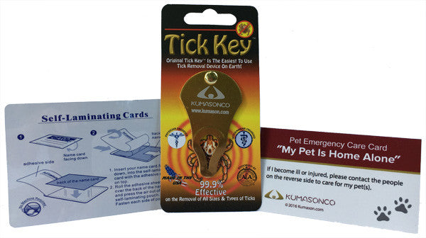 Pet Emergency Card with Laminating Pouch and Tick Remover Paws