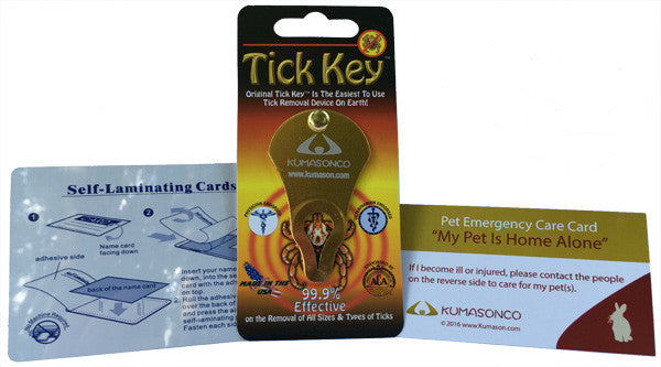 Pet Emergency Card with Laminating Pouch and Tick Remover - Rabbit