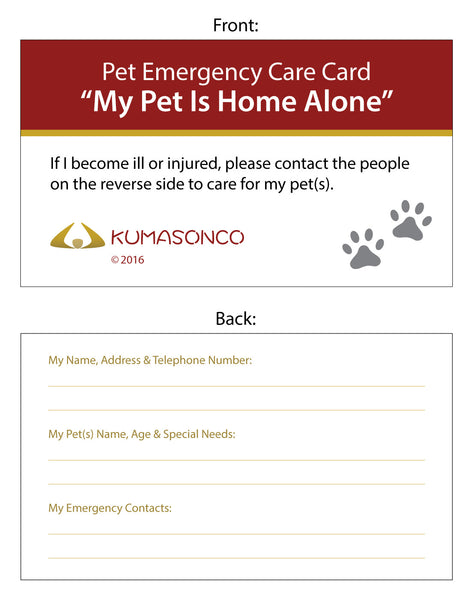Pet Emergency Card Paws (Pack of 2)